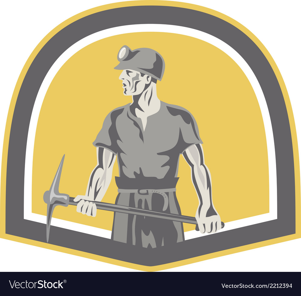 Coal miner standing holding pick axe shield retro vector | Price: 1 Credit (USD $1)