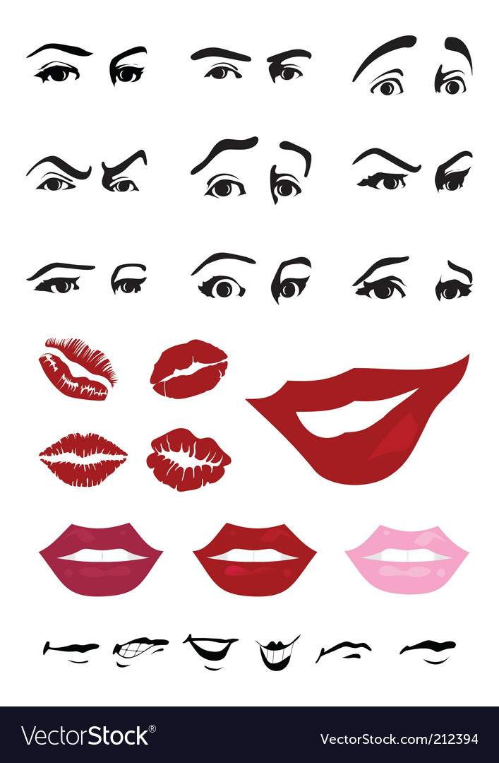 Eyes and lips vector | Price: 1 Credit (USD $1)