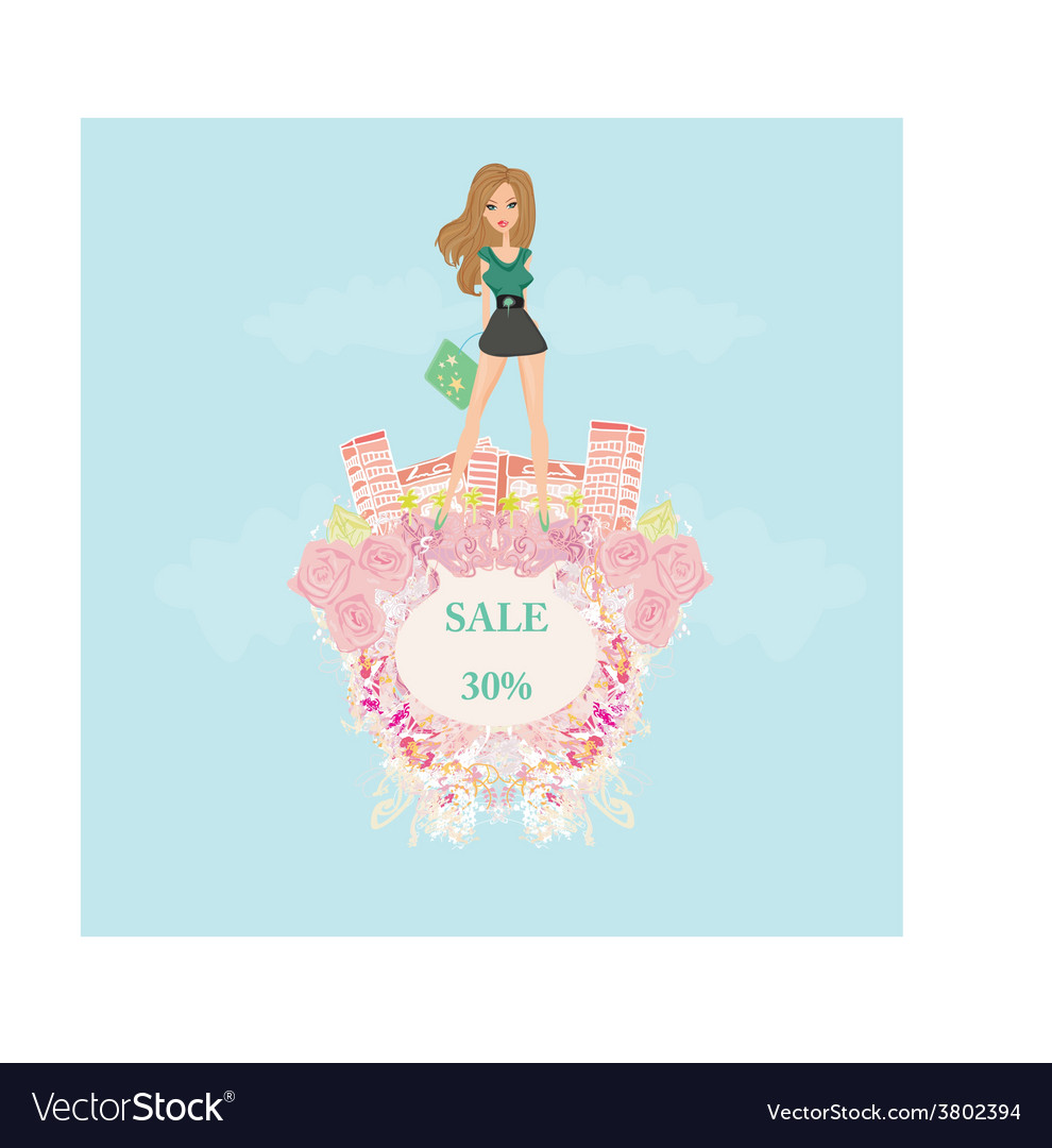Fashion girl shopping - shopping sale frame vector | Price: 1 Credit (USD $1)