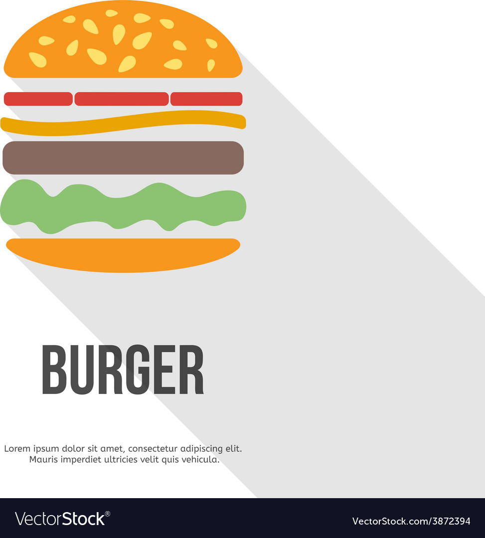 Flat design hamburger web icon vector | Price: 1 Credit (USD $1)