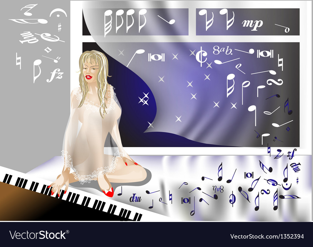 Girl at the piano vector   Price: 1 Credit (USD $1)