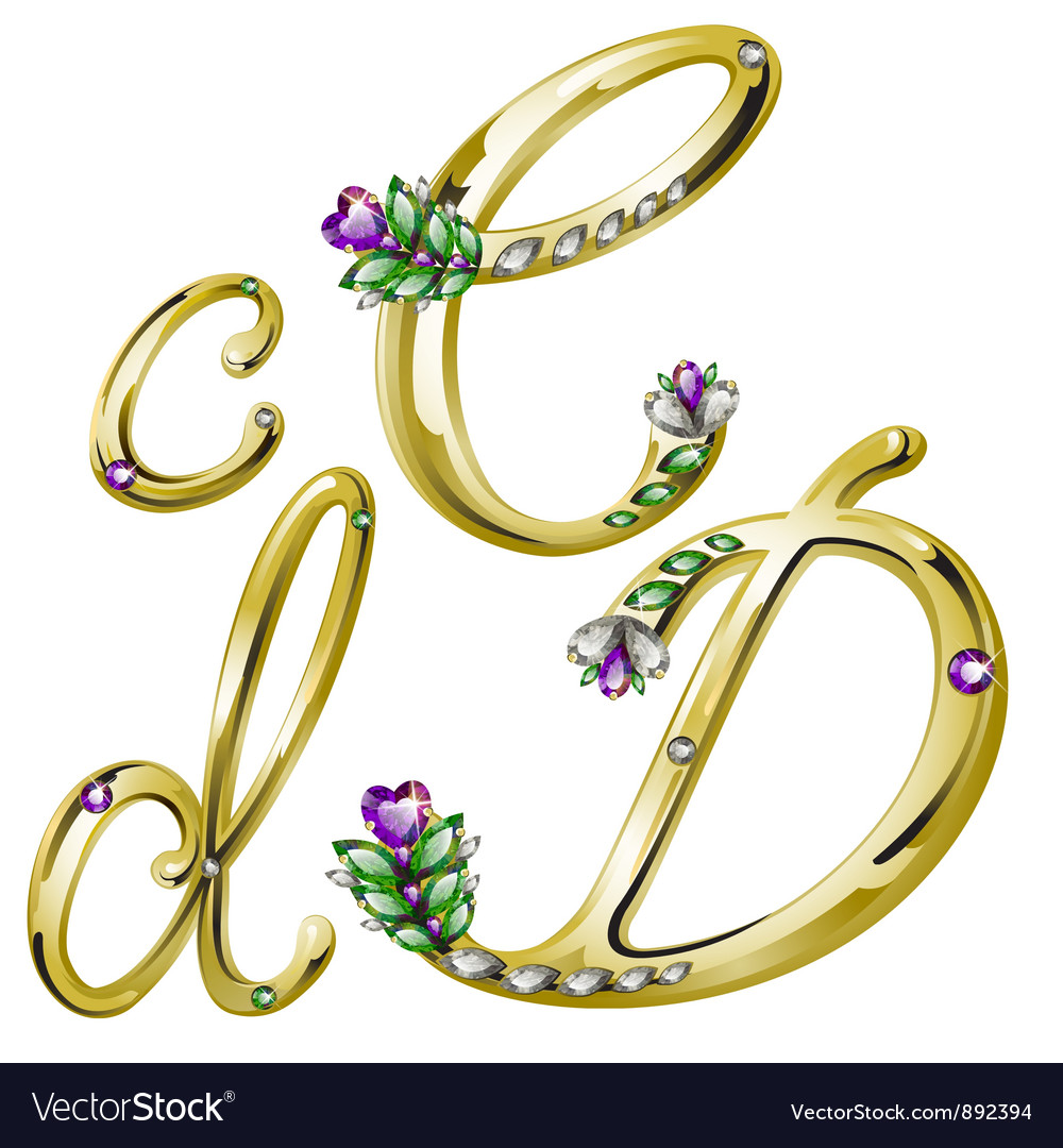 Gold alphabet with diamonds and gems letters cd vector | Price: 1 Credit (USD $1)