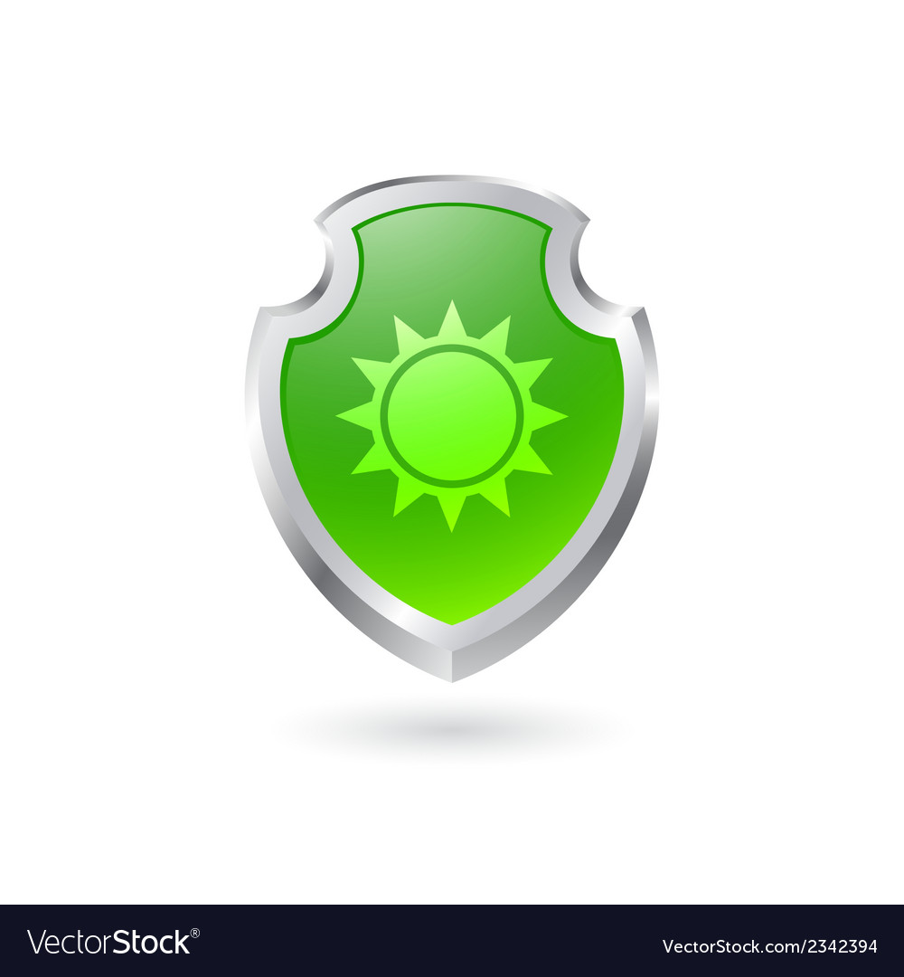 Green shield with the sun vector | Price: 1 Credit (USD $1)