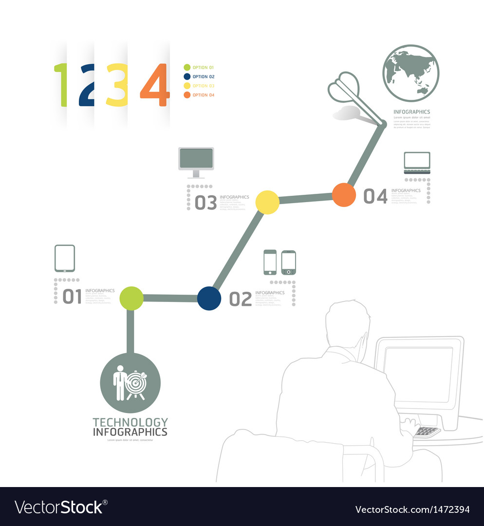 Infographic technology design time line template vector | Price: 1 Credit (USD $1)