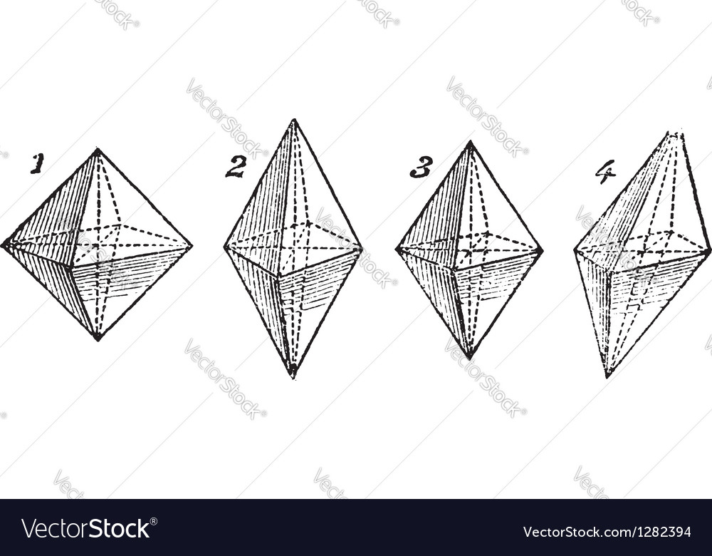 Octahedron vintage engraved vector | Price: 1 Credit (USD $1)
