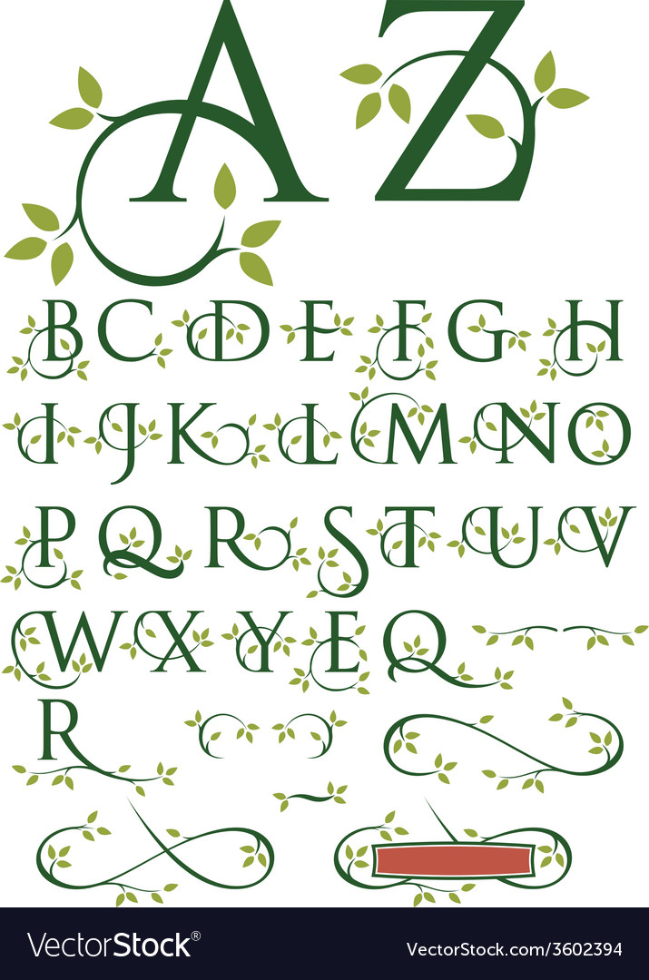 Ornate swash alphabet with leaves vector | Price: 1 Credit (USD $1)