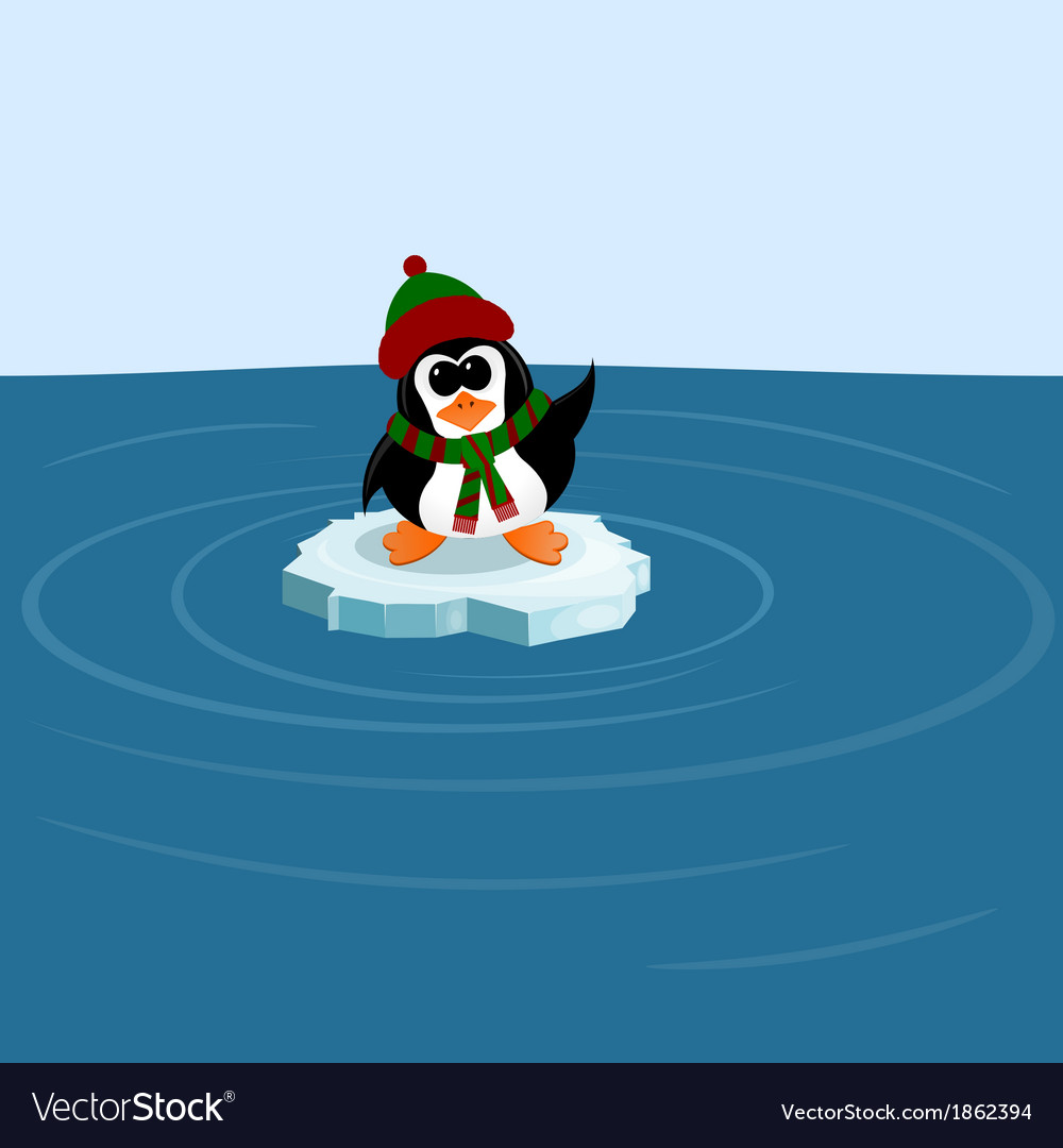 Penguin on an ice floe in the sea vector | Price: 1 Credit (USD $1)