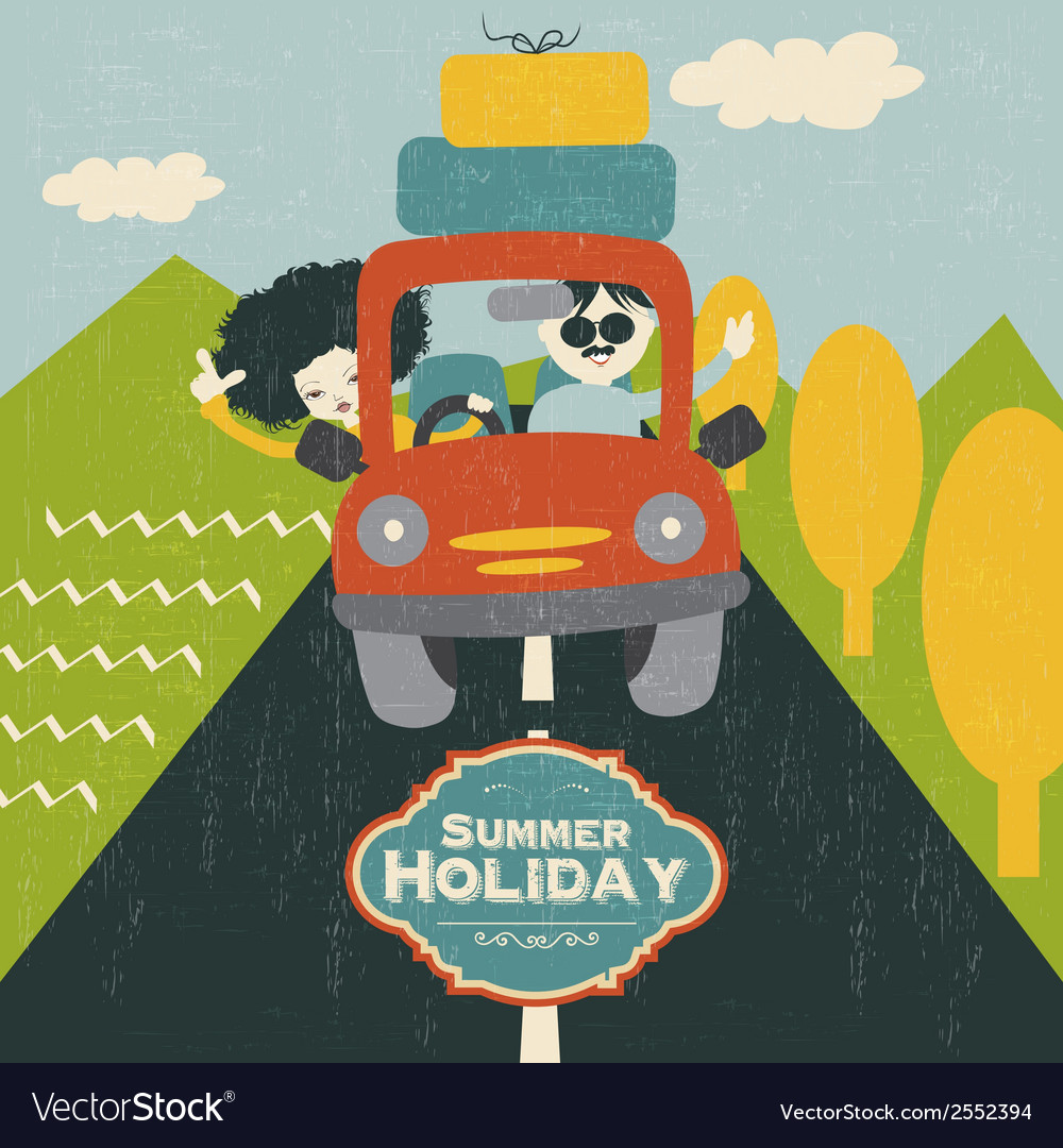 Retro couple traveling by car vector | Price: 1 Credit (USD $1)