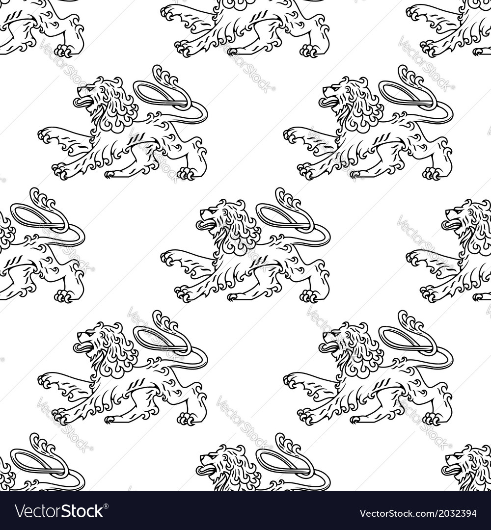 Seamless pattern of a vintage heraldic lion vector | Price: 1 Credit (USD $1)