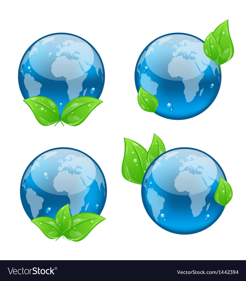 Set icon earth with green leaves isolated on white vector | Price: 1 Credit (USD $1)