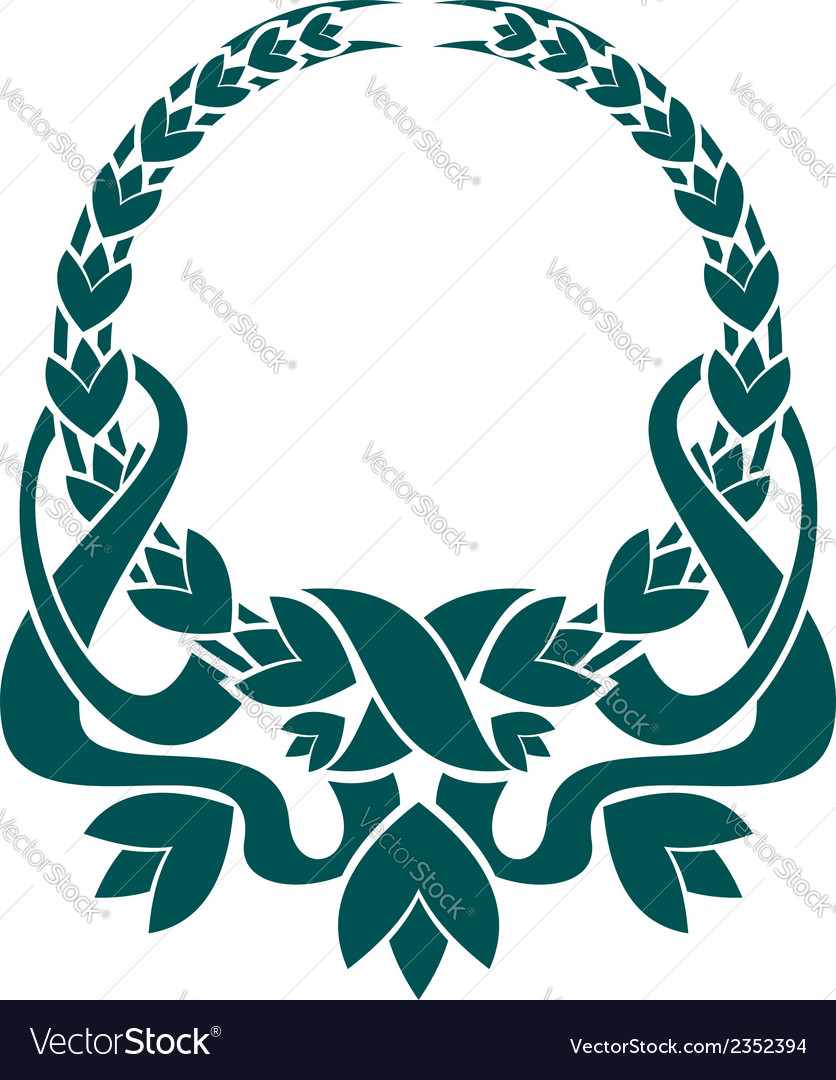 Teal colored foliate circular wreath vector | Price: 1 Credit (USD $1)