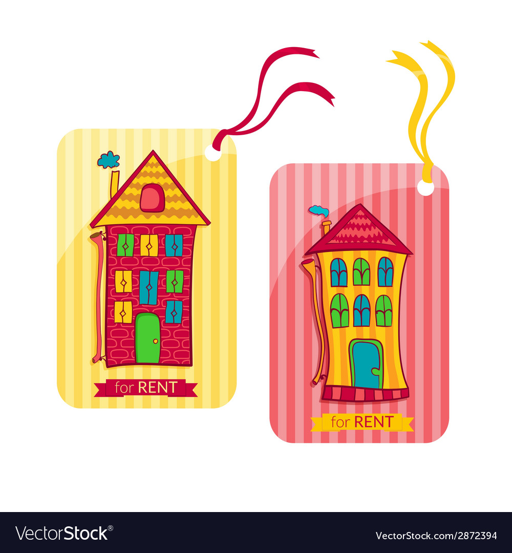Two colorful label depicting houses in cartoon vector | Price: 1 Credit (USD $1)