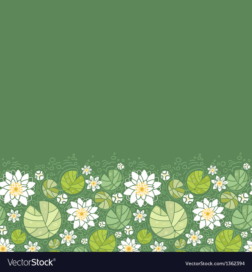 Water lillies horizontal seamless pattern vector | Price: 1 Credit (USD $1)