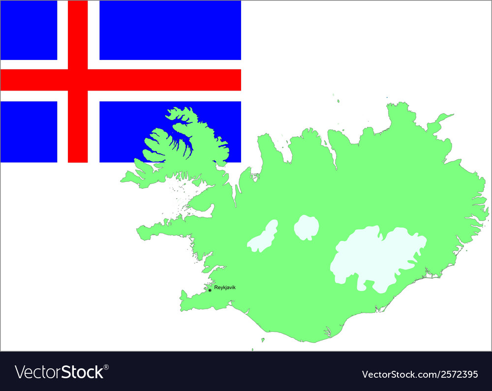 6132 iceland map and flag vector | Price: 1 Credit (USD $1)