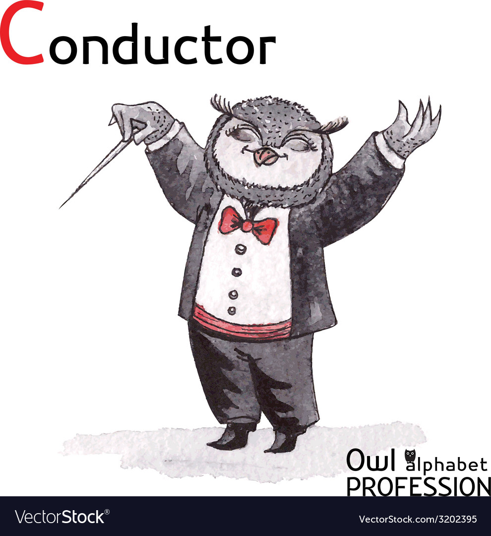 Alphabet professions owl letter c - conductor vector | Price: 1 Credit (USD $1)