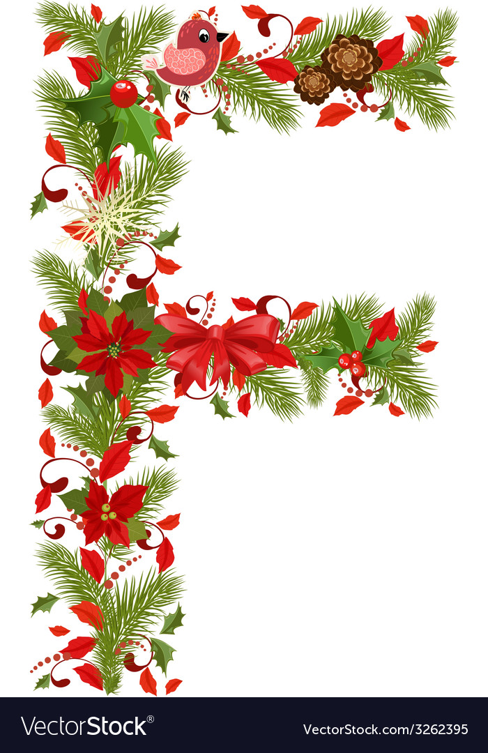 Christmas floral tree letter f vector | Price: 1 Credit (USD $1)