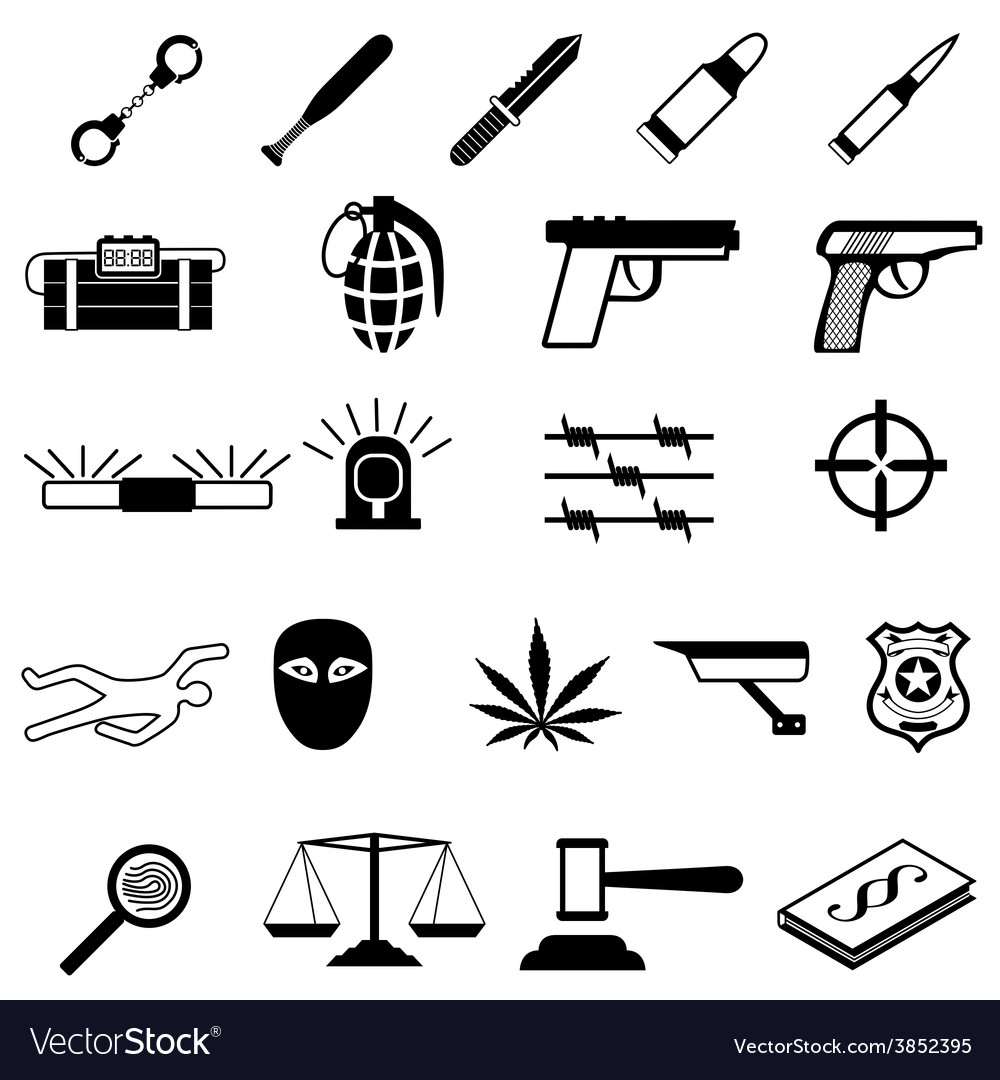 Crime icons set vector | Price: 1 Credit (USD $1)