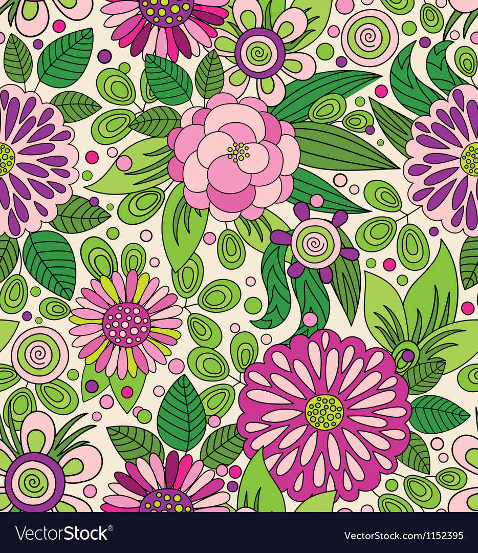 Decorative colourful picturesque seamless pattern vector | Price: 1 Credit (USD $1)