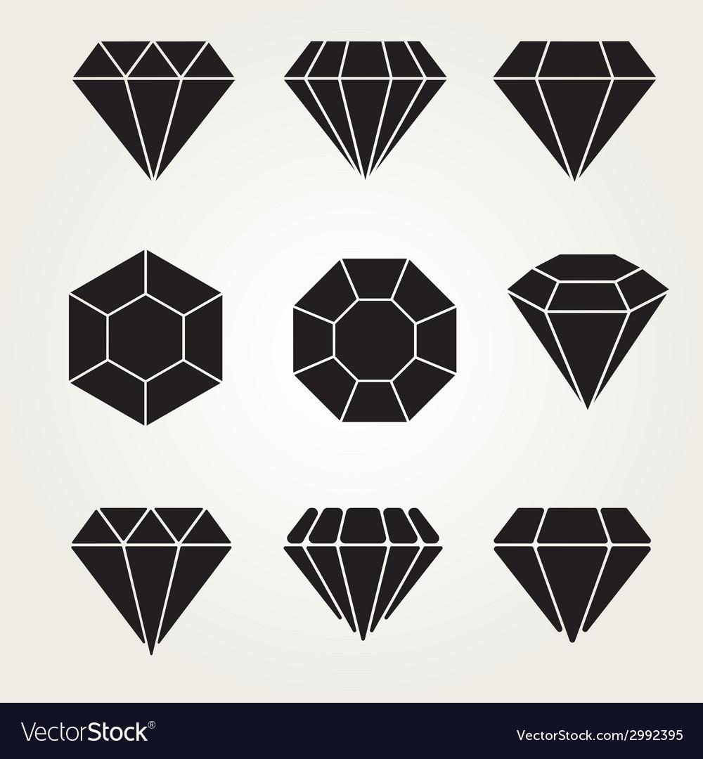 Diamond icon symbol set vector | Price: 1 Credit (USD $1)