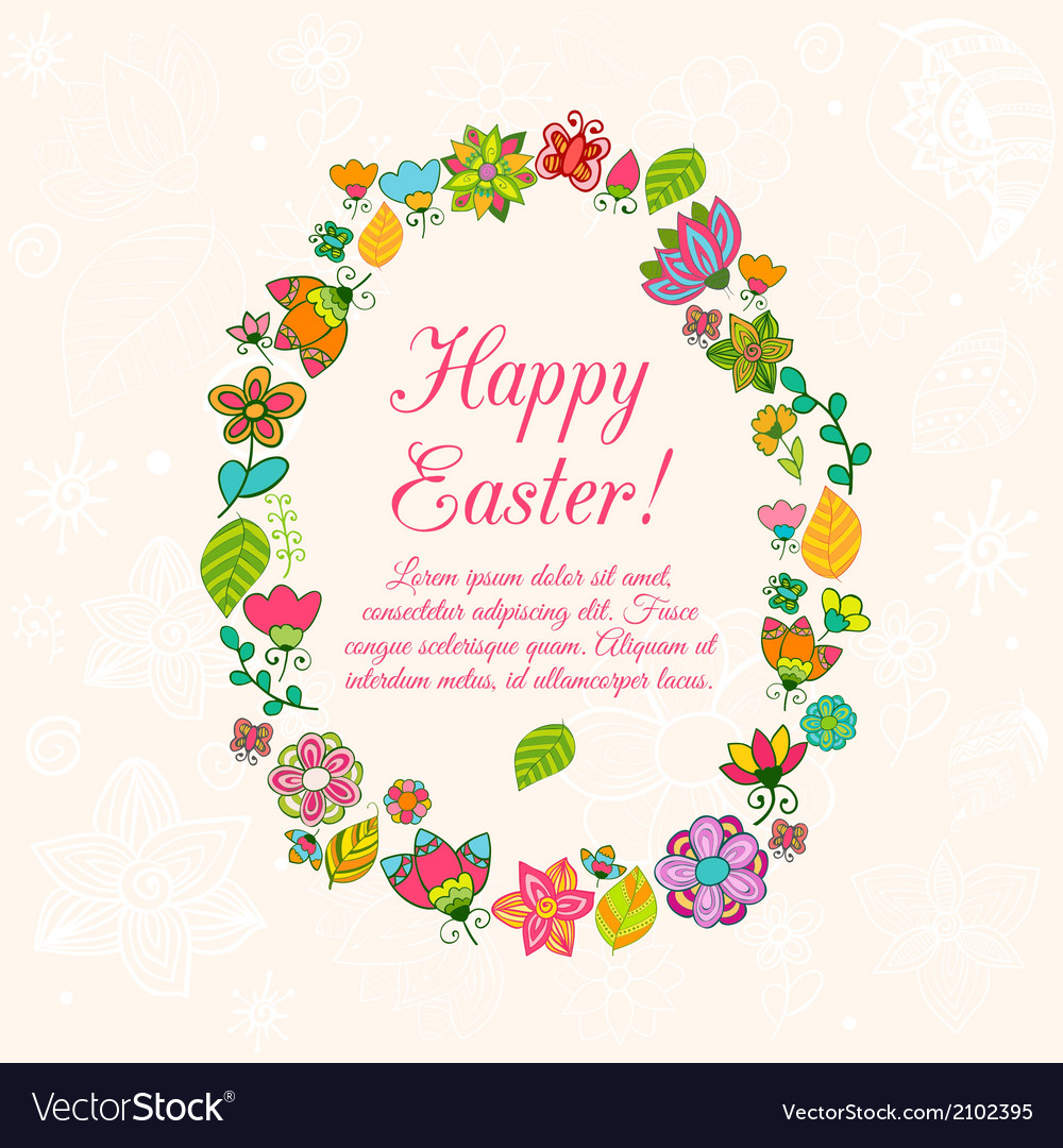 Easter egg on flowers background vector | Price: 1 Credit (USD $1)