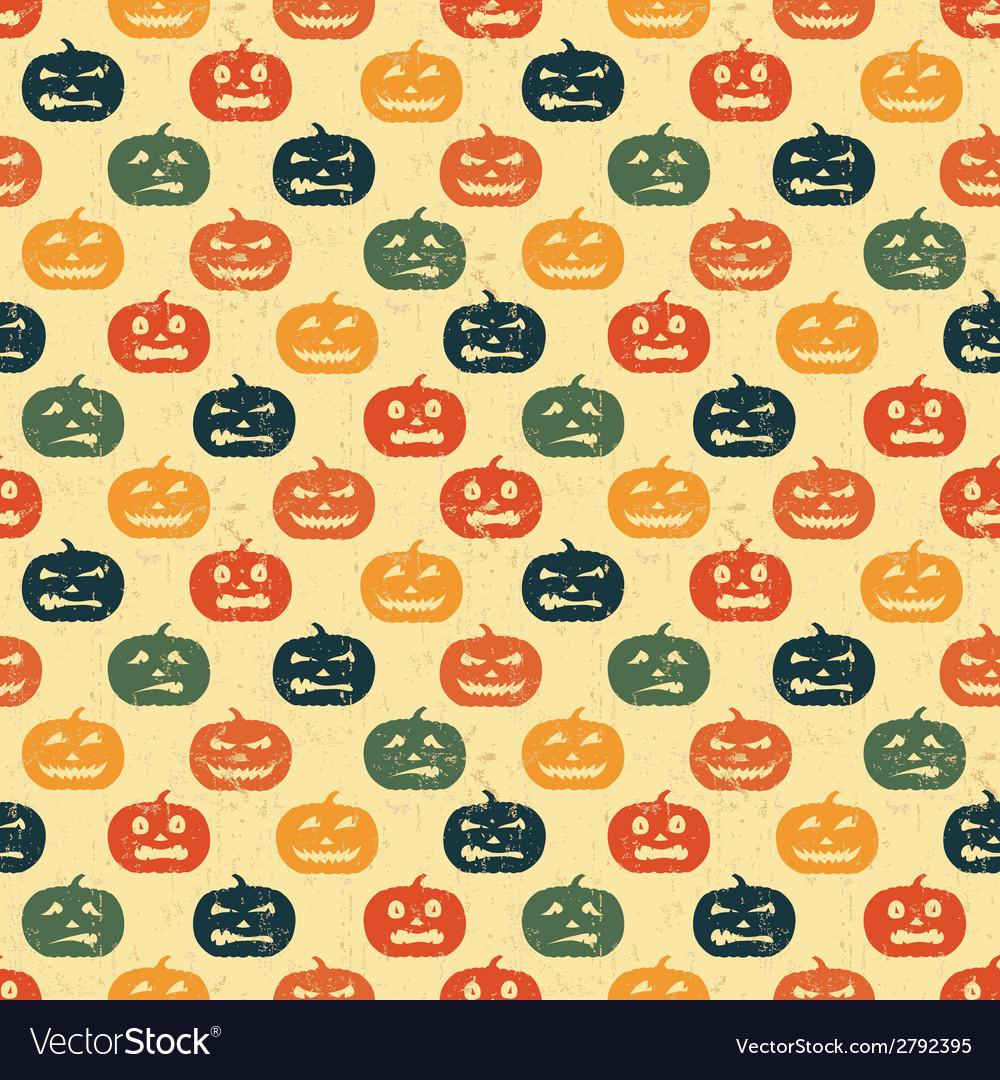 Halloween seamless background with pumpkin retro vector | Price: 1 Credit (USD $1)