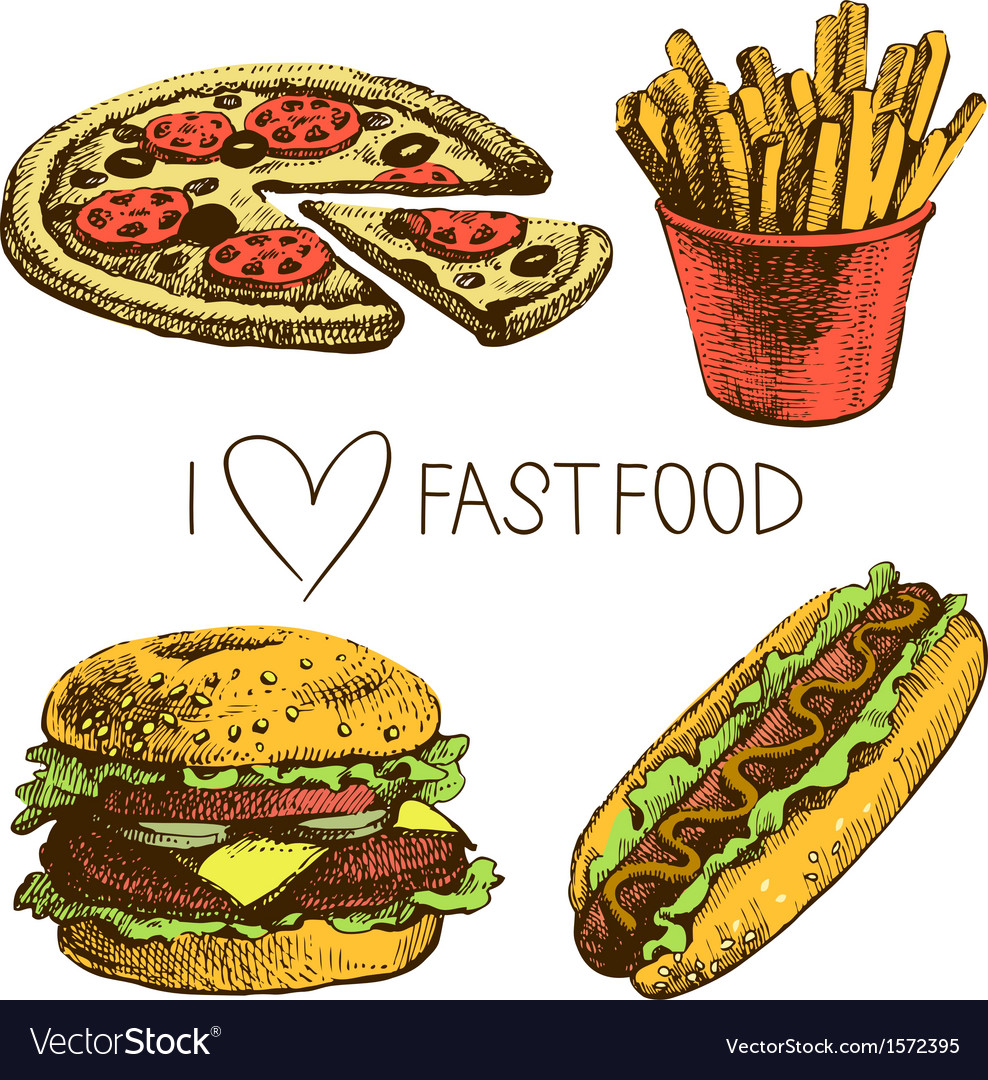 Hand drawn fast food set vector | Price: 1 Credit (USD $1)