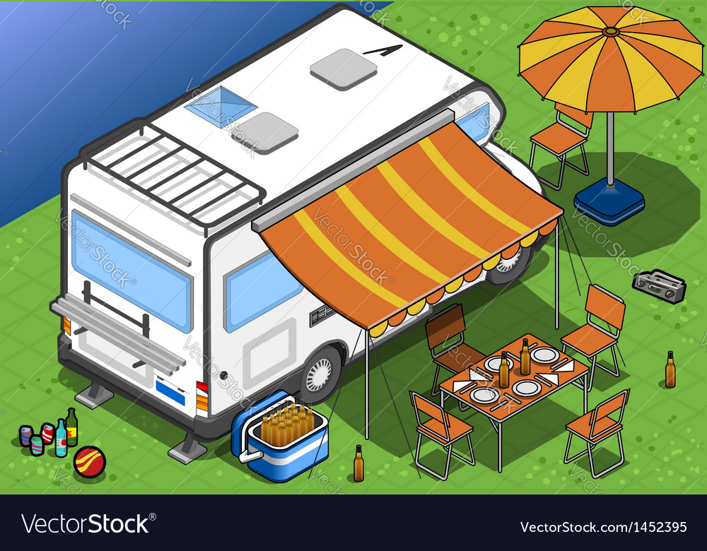 Isometric camper in two position vector | Price: 1 Credit (USD $1)