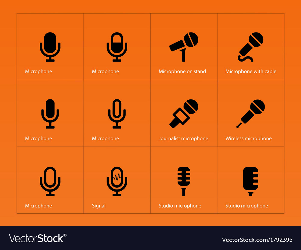 Microphone icons on orange background vector | Price: 1 Credit (USD $1)