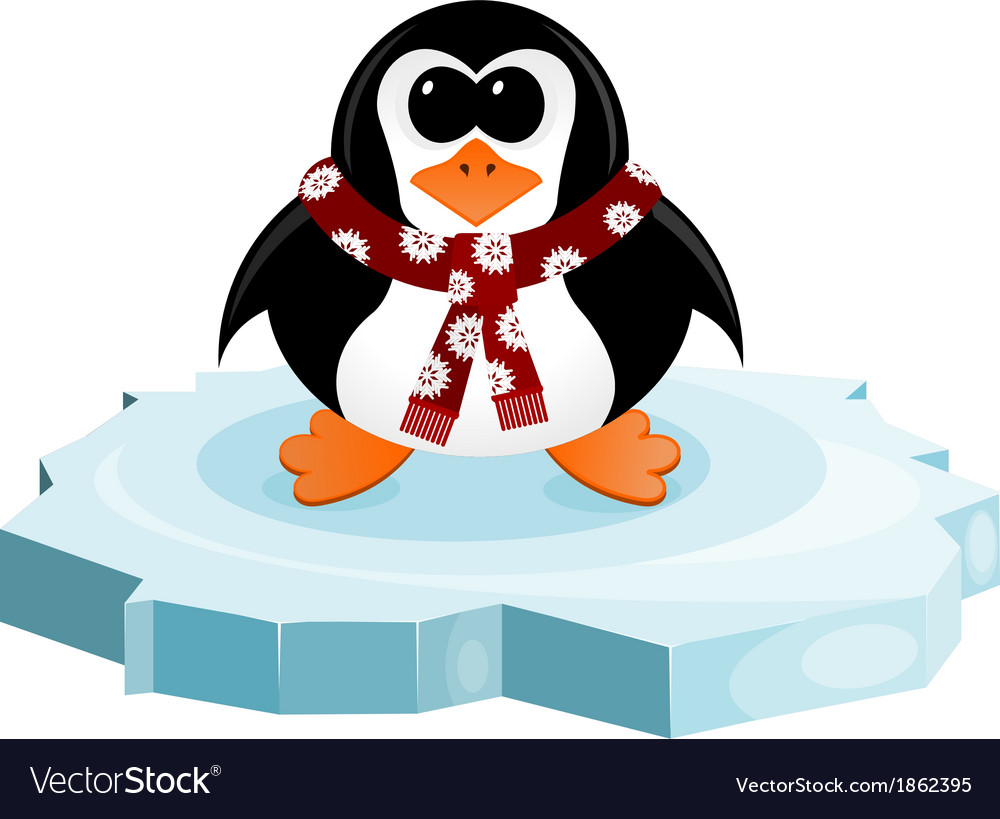 Penguin on an ice floe vector | Price: 1 Credit (USD $1)