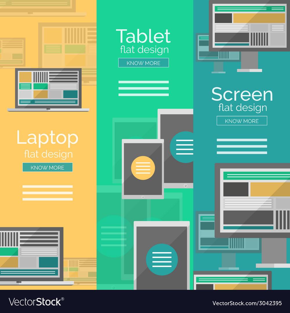 Set of flat design screen concepts vector | Price: 1 Credit (USD $1)