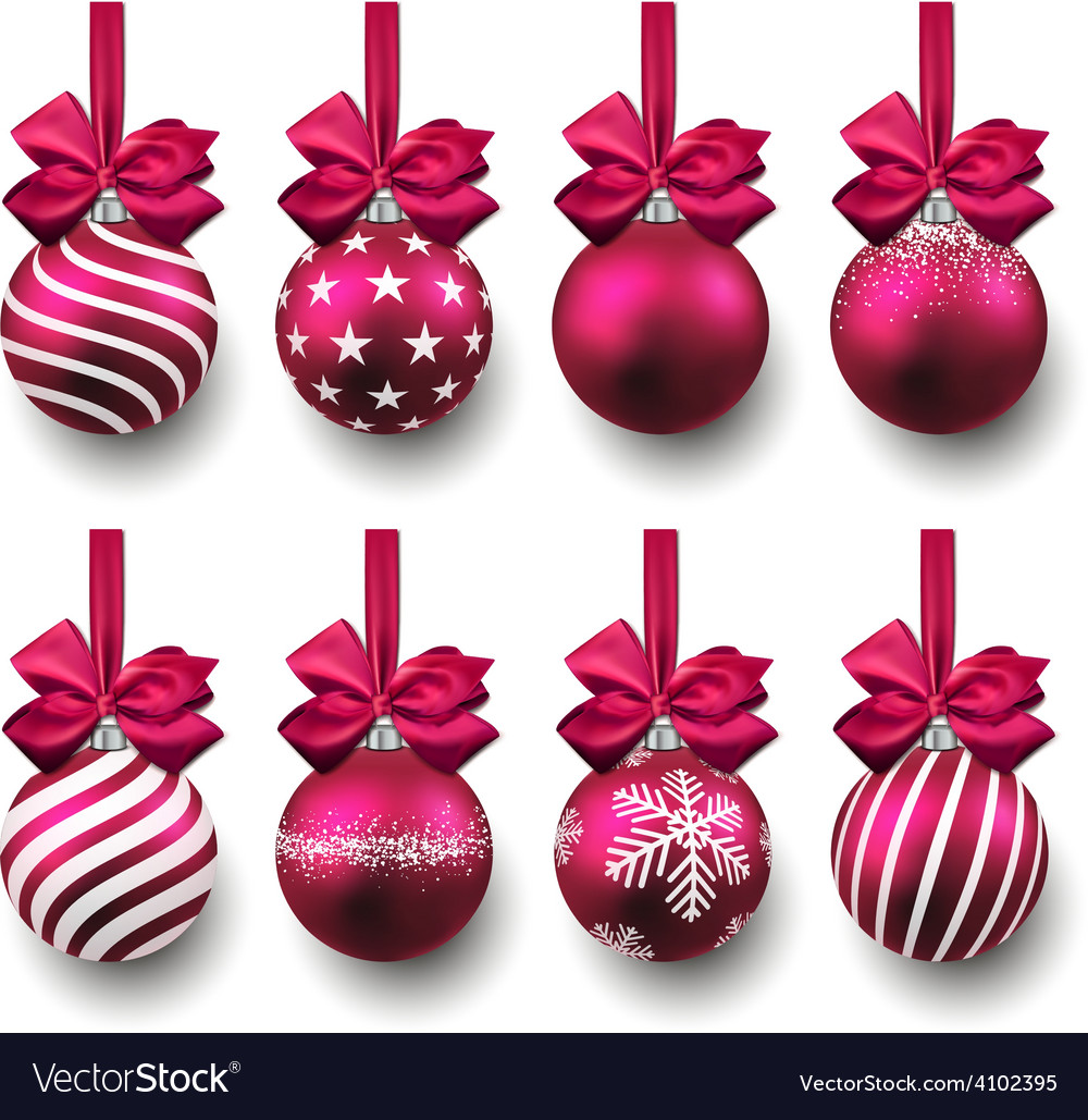 Set of realistic magenta christmas balls vector | Price: 1 Credit (USD $1)