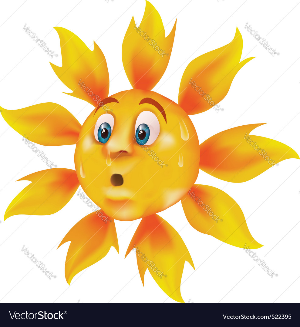 Sweating cartoon sun vector | Price: 3 Credit (USD $3)