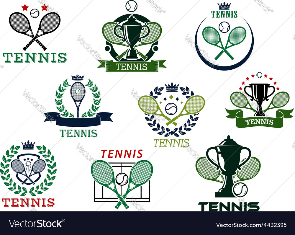 Tennis emblems with equipment and heraldic vector | Price: 1 Credit (USD $1)