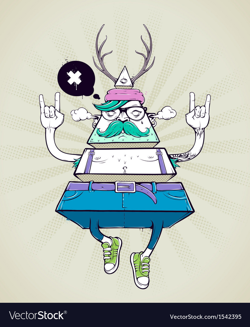 Triangle hipster bizarre character vector | Price: 1 Credit (USD $1)