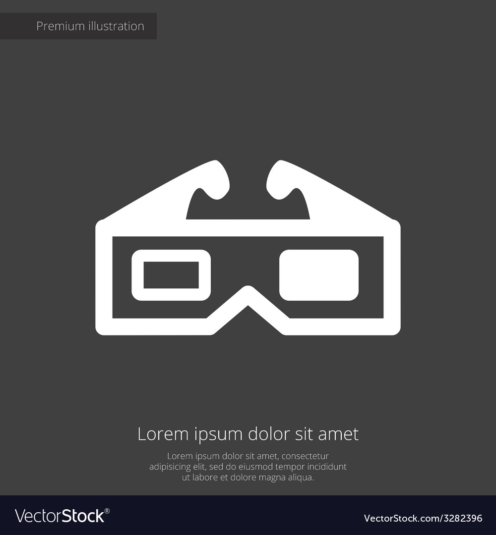 3d movie premium icon white on dark background vector | Price: 1 Credit (USD $1)