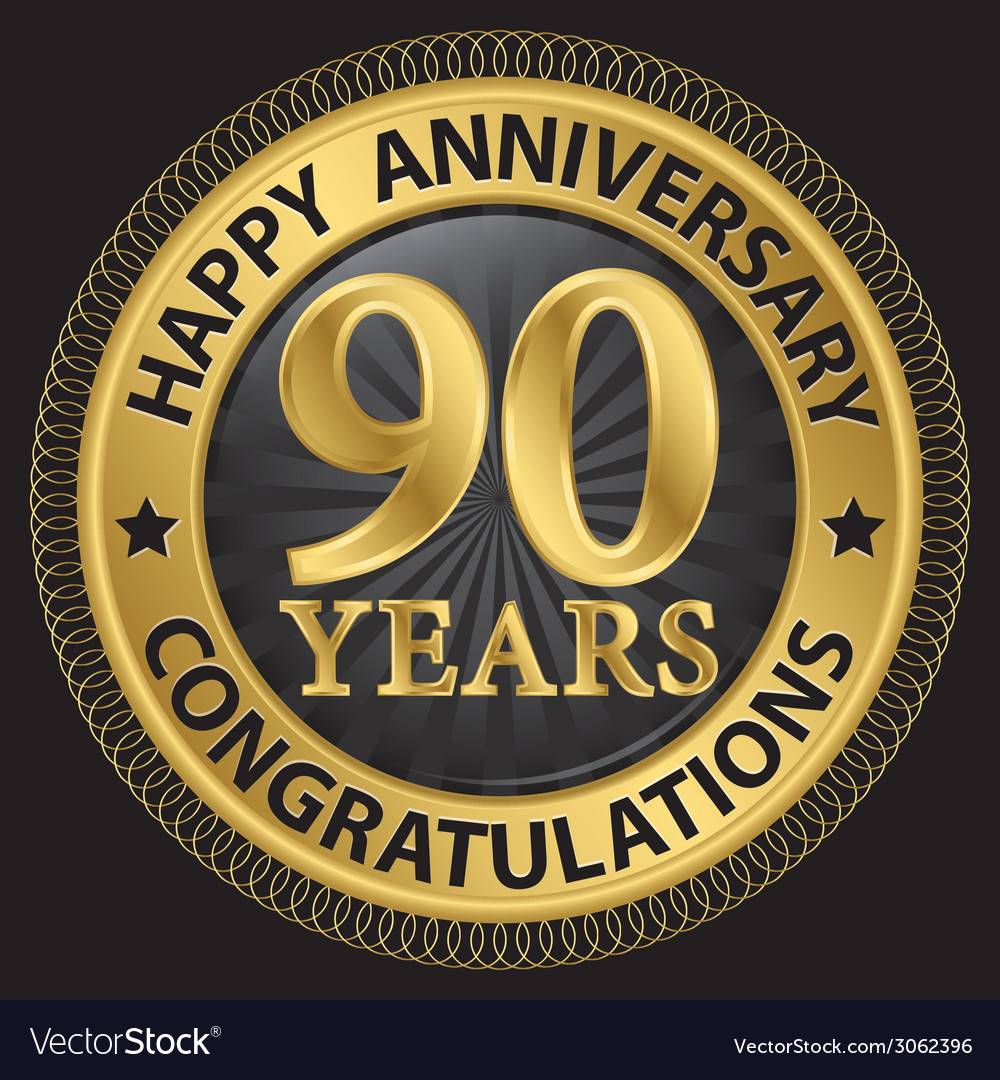 90 years happy anniversary congratulations gold vector | Price: 1 Credit (USD $1)