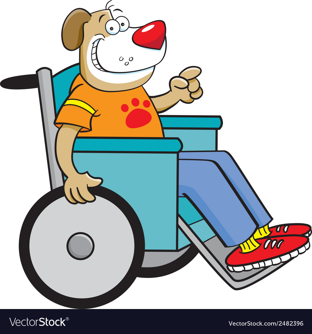 Cartoon dog in a wheelchair vector | Price: 1 Credit (USD $1)