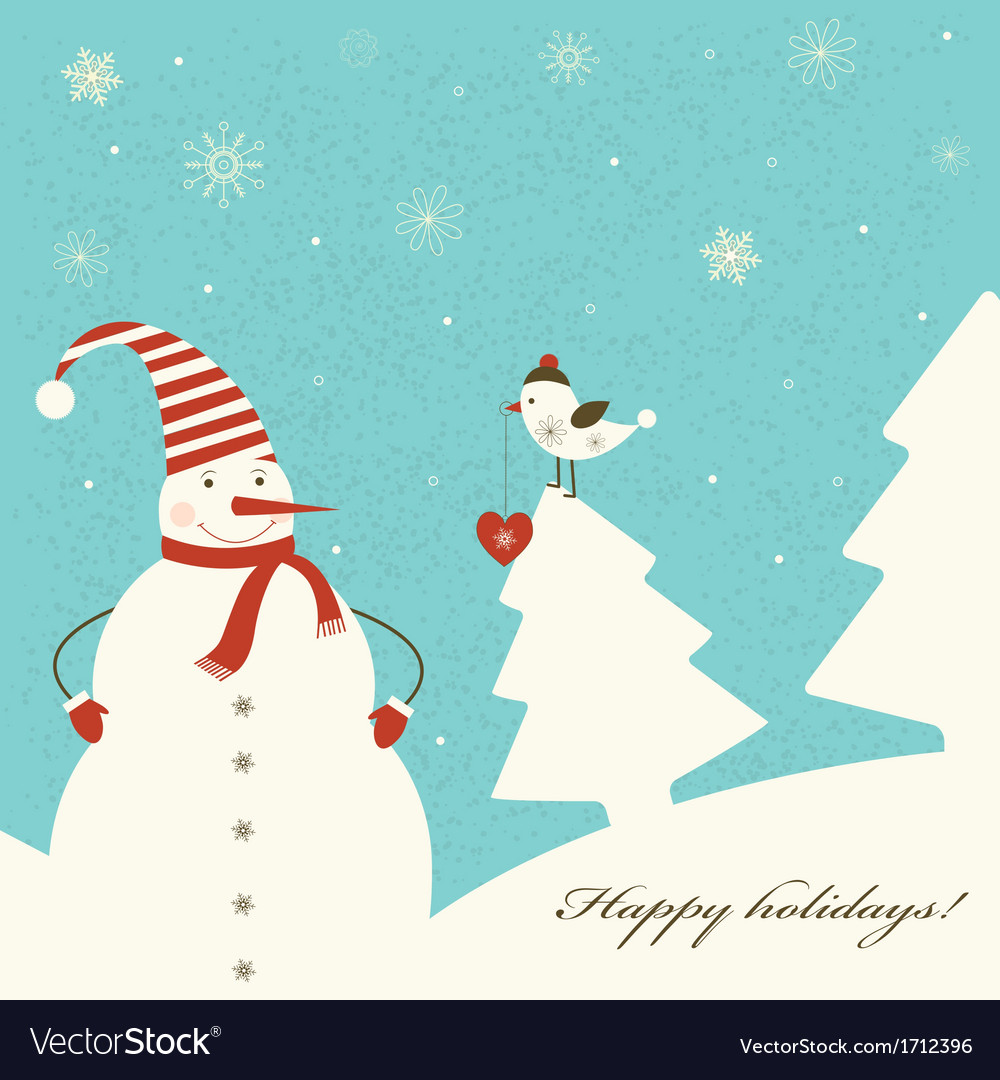 Christmas decoration with snowman vector | Price: 1 Credit (USD $1)