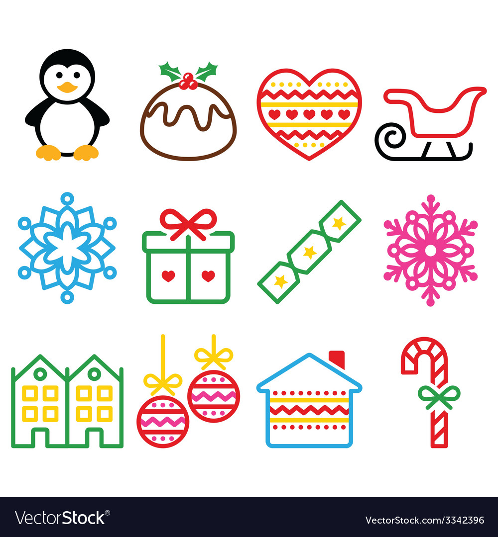 Christmas winter icons with stroke - penguin vector | Price: 1 Credit (USD $1)
