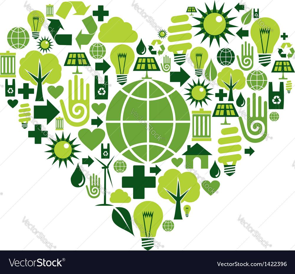 Green heart environmental icons vector | Price: 1 Credit (USD $1)
