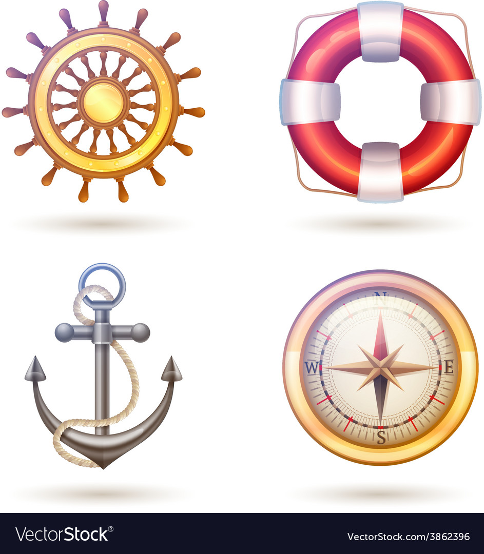 Marine symbols set vector | Price: 1 Credit (USD $1)