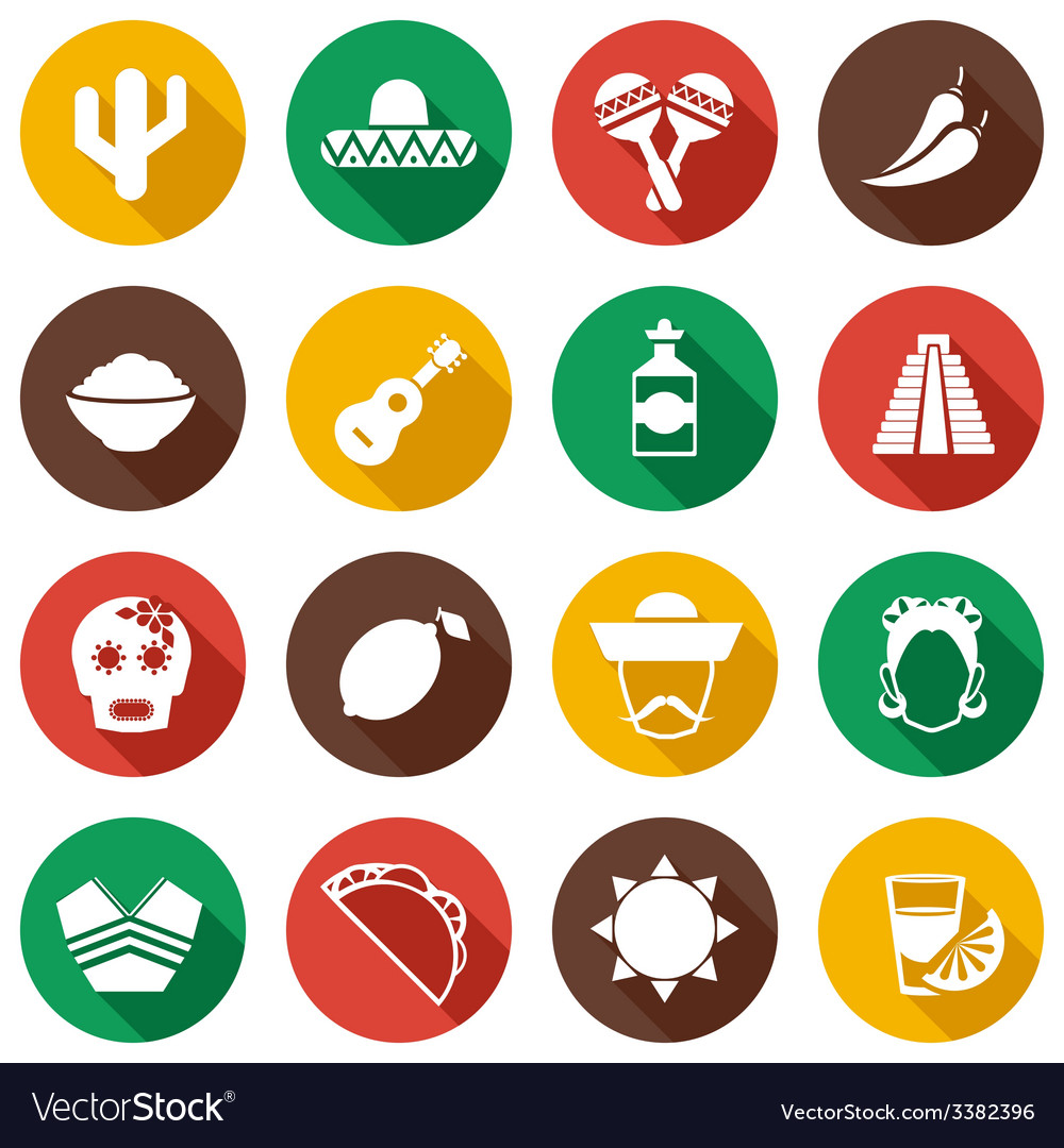 Mexico flat icons set vector | Price: 1 Credit (USD $1)
