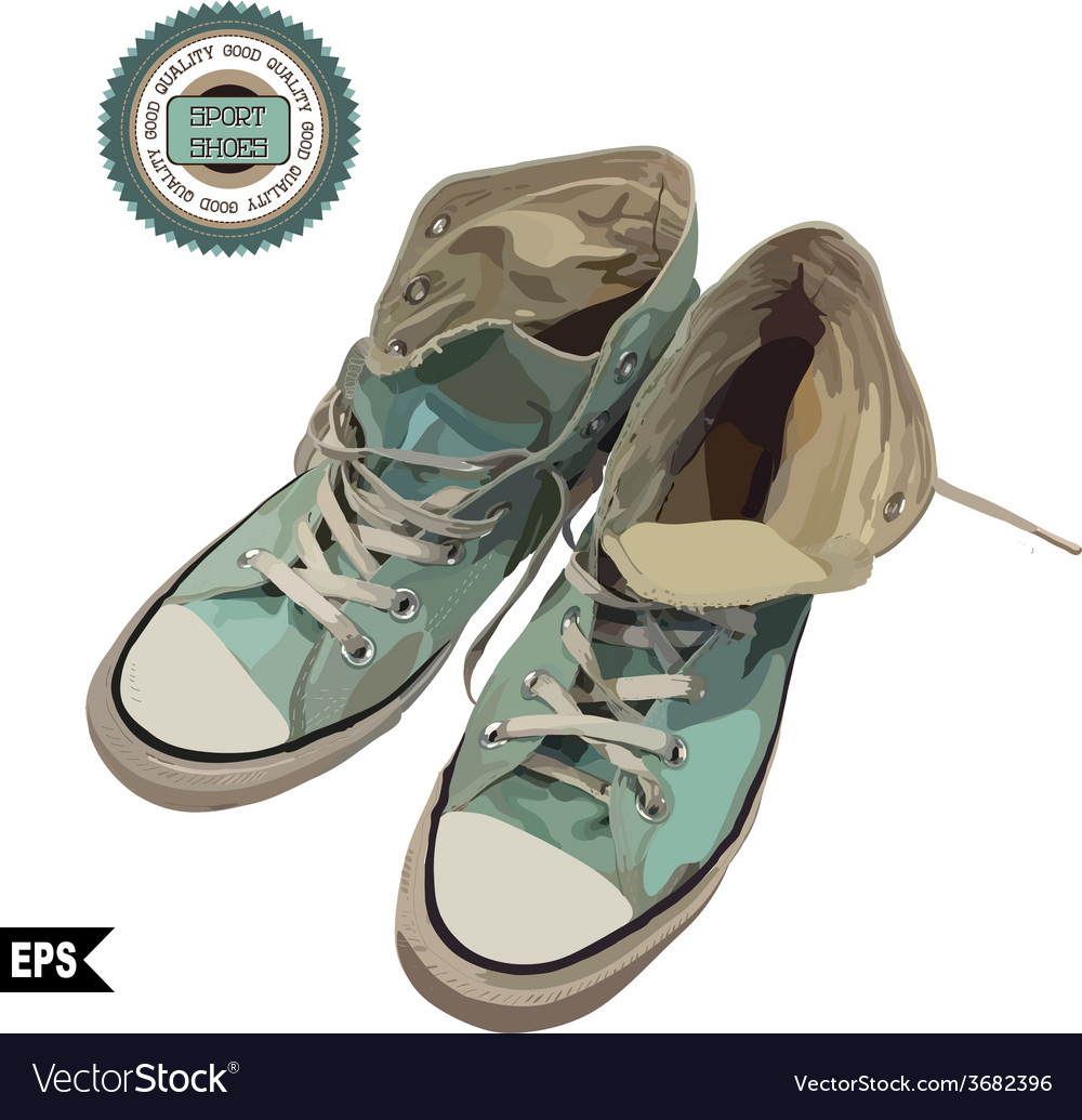 Mint colour sports shoes on a background vector | Price: 1 Credit (USD $1)