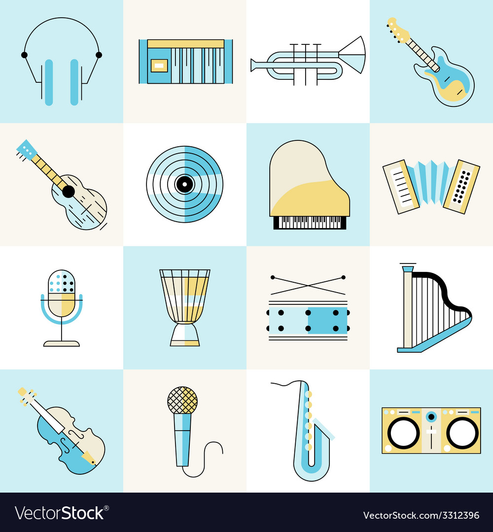 Musical instruments flat line set vector | Price: 1 Credit (USD $1)