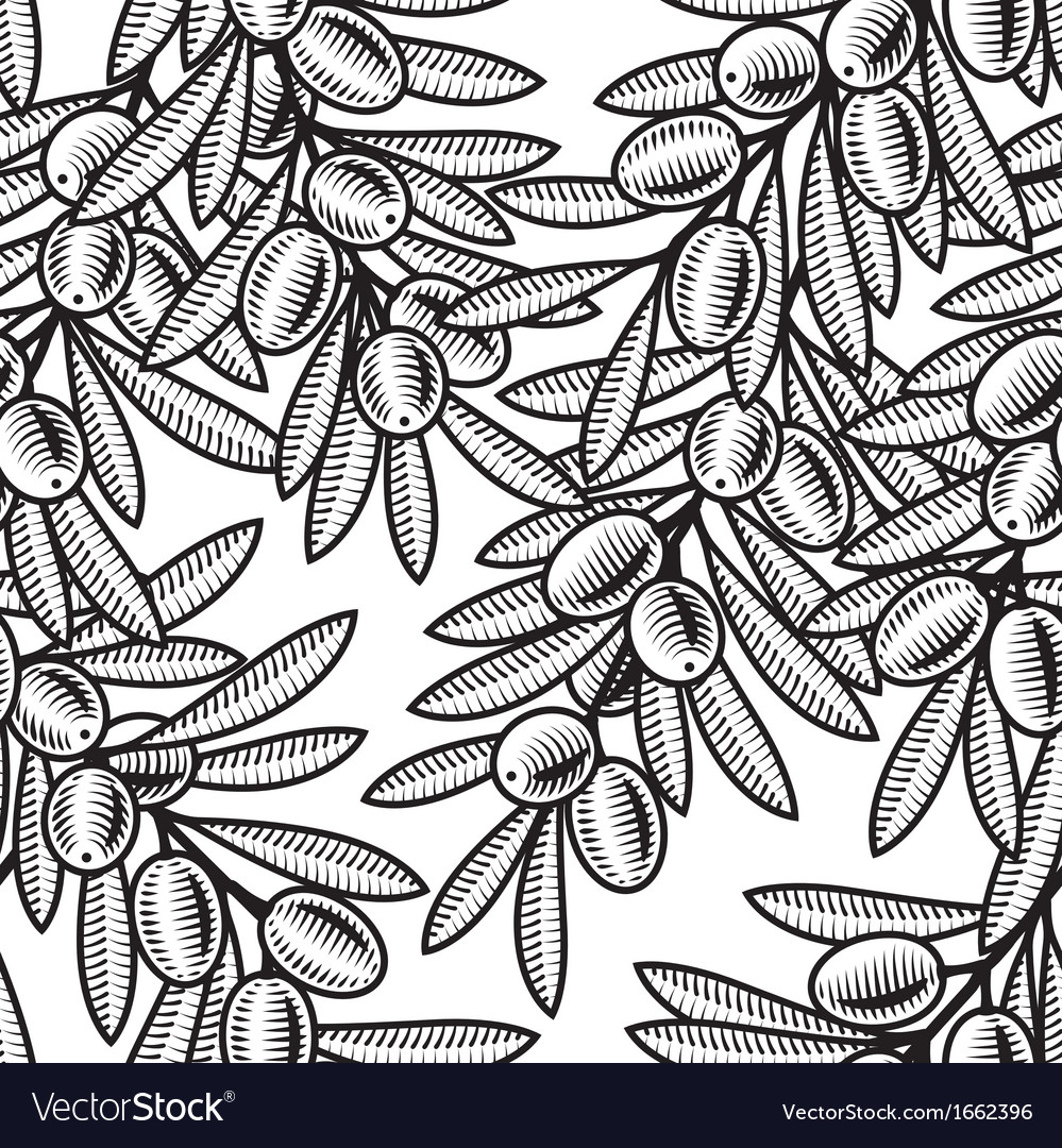 Seamless olive background black and white vector | Price: 1 Credit (USD $1)