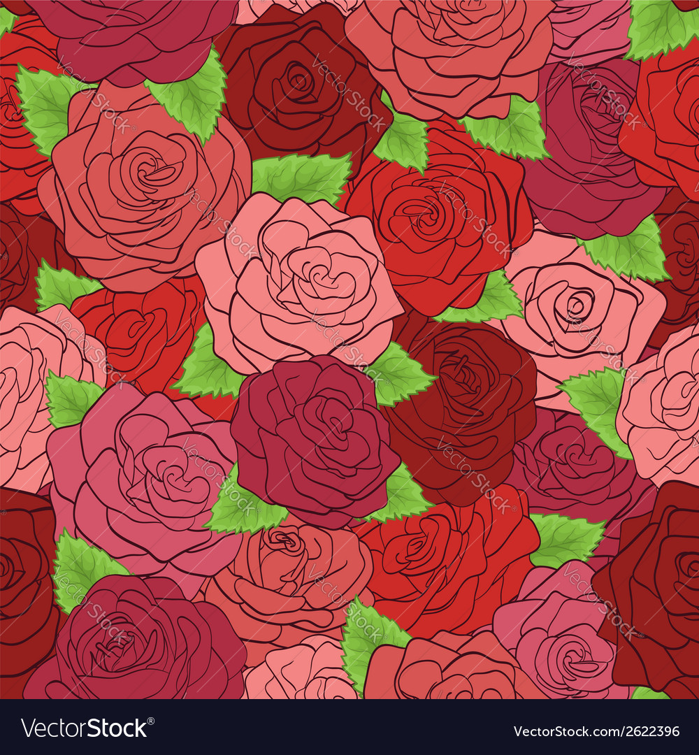 Seamless pattern red roses with green leaves vector | Price: 1 Credit (USD $1)