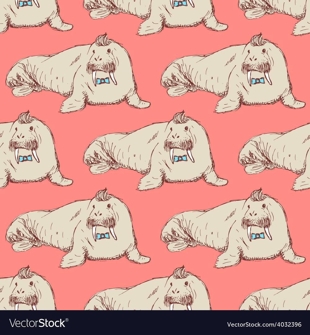 Sketch fancy walrus in vintage style vector | Price: 1 Credit (USD $1)