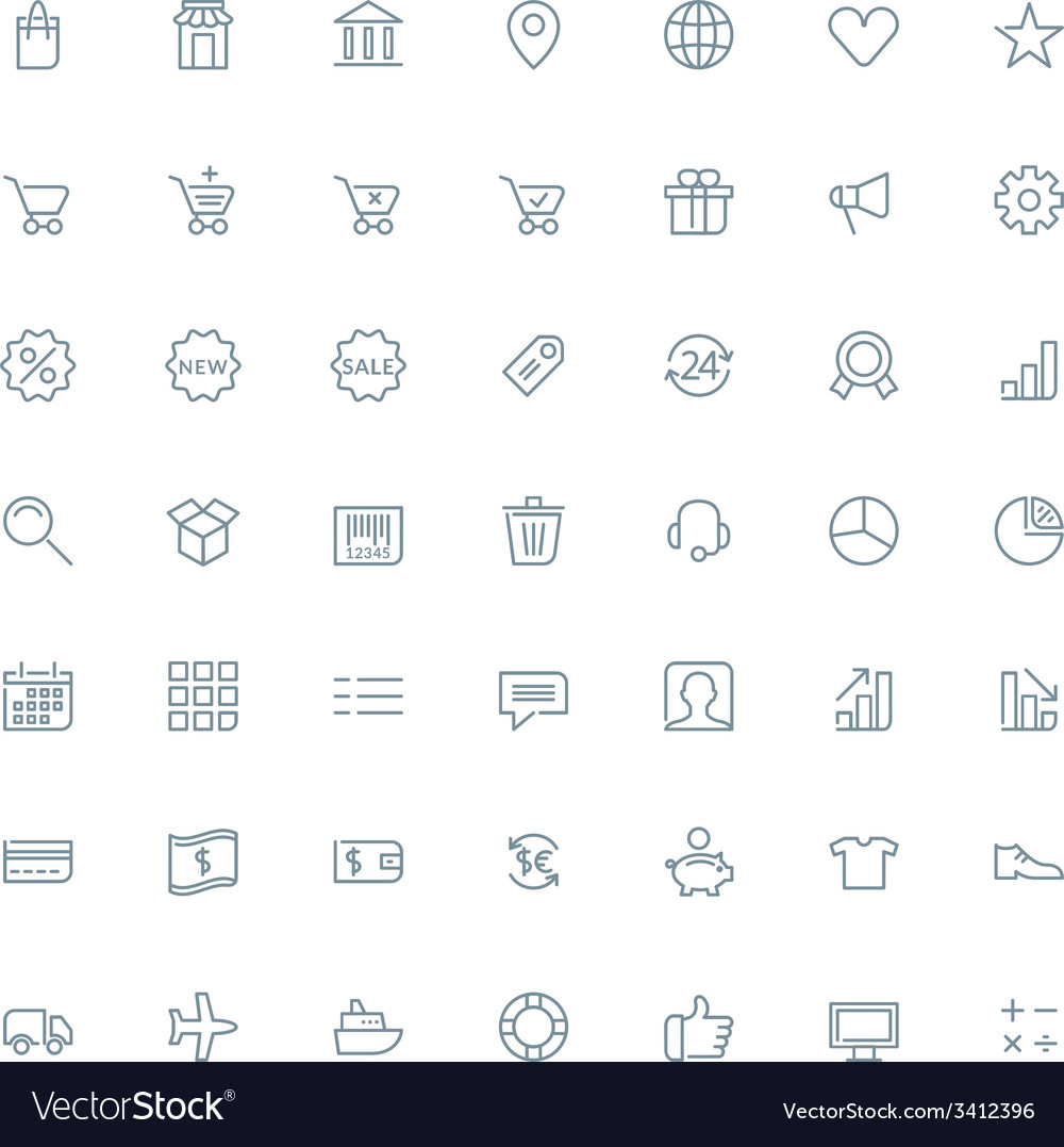 Thin line shopping and business icons set for web vector | Price: 1 Credit (USD $1)