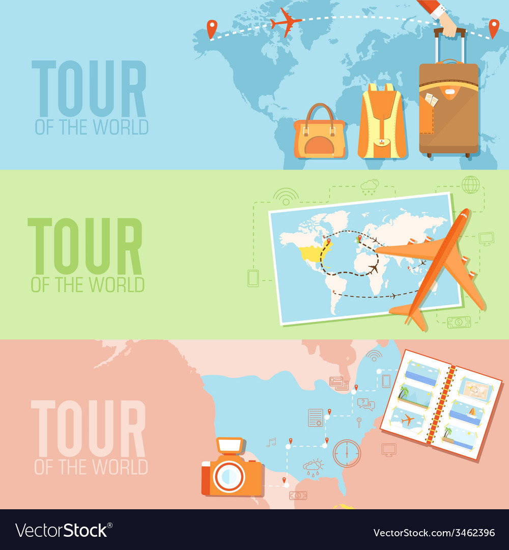 Tour of the world seamless pattern concept tourism vector | Price: 1 Credit (USD $1)