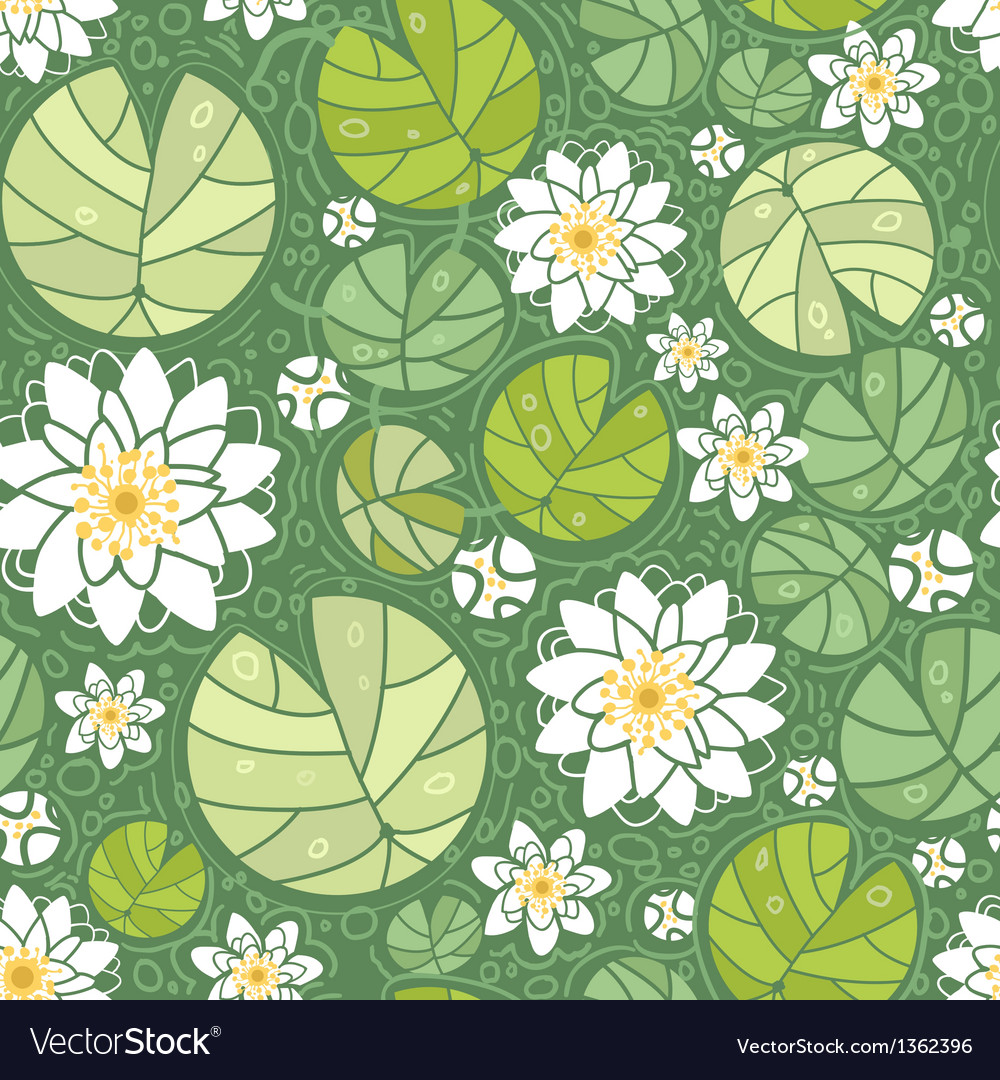 Water lillies seamless pattern background vector | Price: 1 Credit (USD $1)